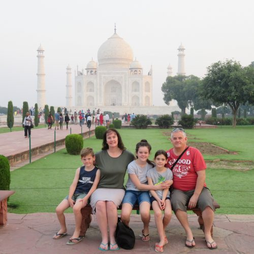 Sally at Taj Mahal with family
